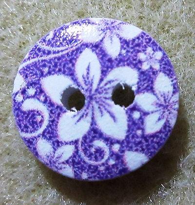 15mm Flower Button, Purple Painted Wood, 2/Pkg.