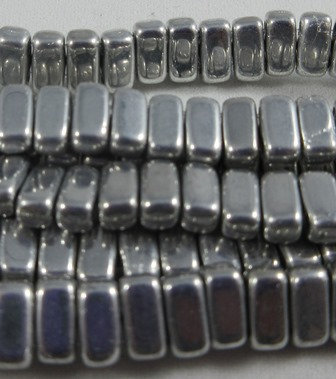 Metallic Silver Brick Bead