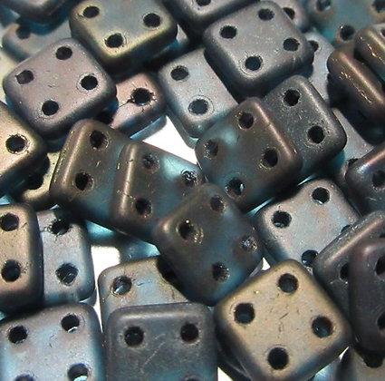 6mm 4-Hole Quadratile Matte Oxidized Bronze