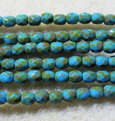 4-16 - 4mm Blue Turquoise Travertine Fire Polish, 50/Strand