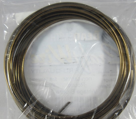 16 Gauge Round Soft Tempered Vintage Bronze Craft Wire - 5 Yards