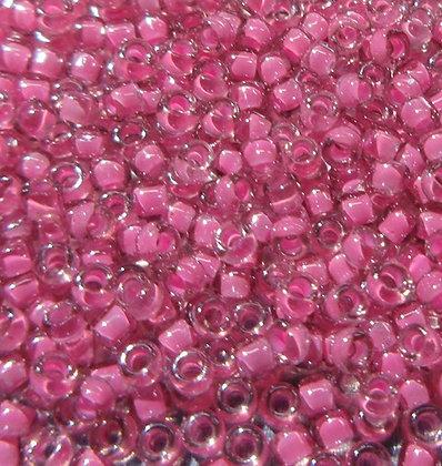 15-395 15/0 Crystal Medium Rose Lined