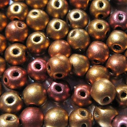 4mm 2-Hole RounDuo Mini Ancient Gold