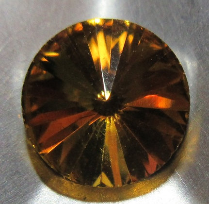 10mm Amber Rivoli Foiled Point Back