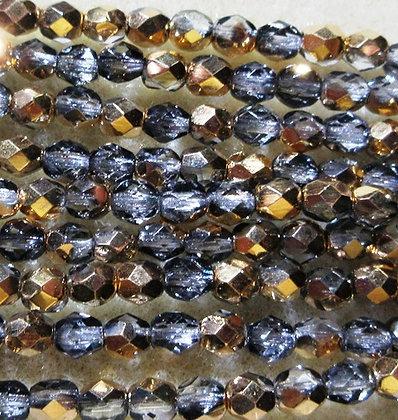 4-62 - 4mm Crystal Half Gold Fire Polish, 50/Strand