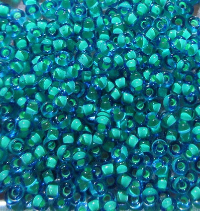 11-397F 11/0 Sapphire Blue Mint Green Lined