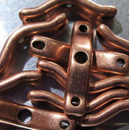 18x4mm 3-Hole BowTrio Antique Copper