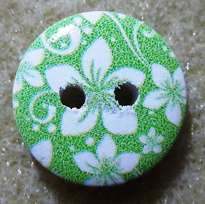 15mm Flower Button, Green Painted Wood, 2/Pkg.