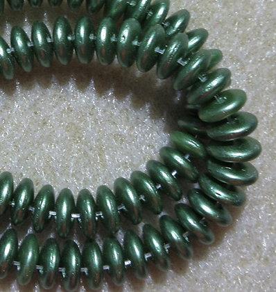 6mm 2-Hole Lentil, Olive Green, 50/Strand