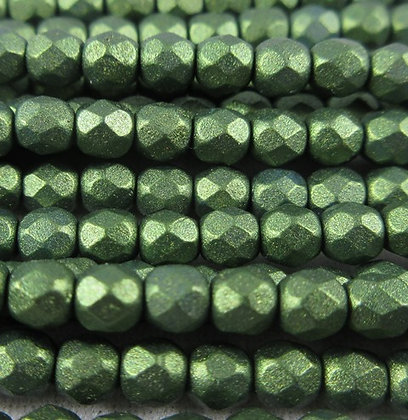 3mm Green Matte Metallic Pearl, 50/Strand