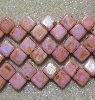 6mm 2-Hole Silky, Pink Coral Travertine, 20/Strand