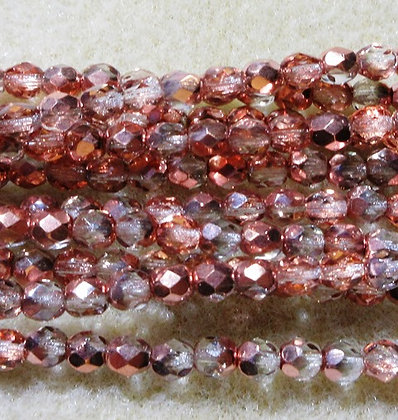 4-52 - 4mm Crystal Half Copper Fire Polish, 38/Strand