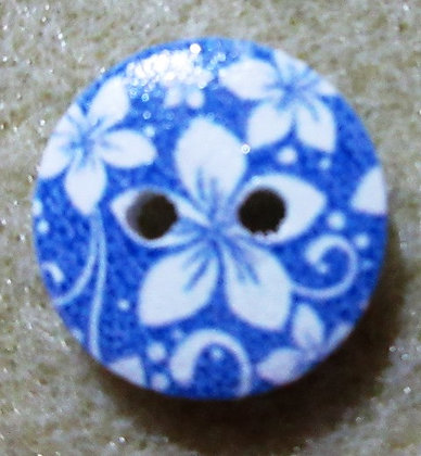 15mm Flower Button, Blue Painted Wood, 2/Pkg.