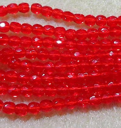 3mm Transparent Tart Cherry Fire Polish, 50/Strand