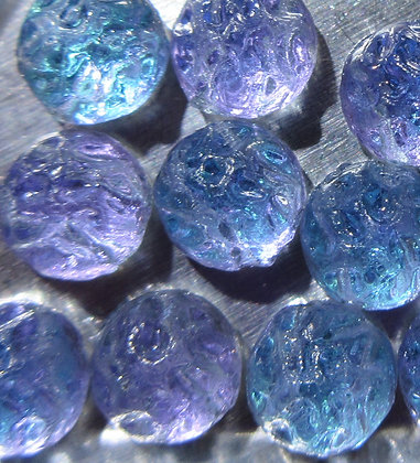 7mm 2-Hole Round Baroque Cabochon Backlit Violet Ice