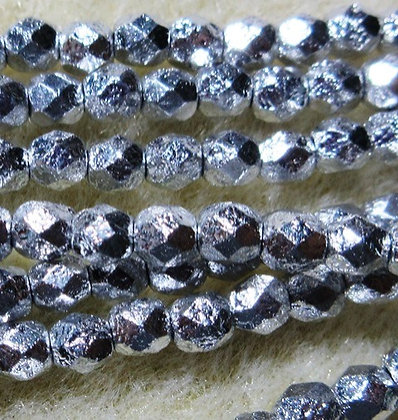 4-5 - 4mm Silver Ore Etched Fire Polish, 50/Strand