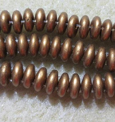 6mm 2-Hole Lentil, Matte Metallic Goldenrod, 50/Strand