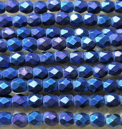 4-22 - 4mm Matte Blue Iris Fire Polish, 50/Strand