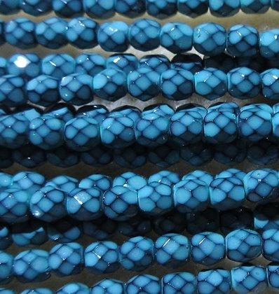 4-17 - 4mm Turquoise Snake Fire Polish, 50/Strand