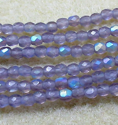 3mm Light Lavender Frost AB, 50/Strand