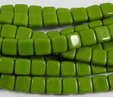 Olive Opaque Tile Bead