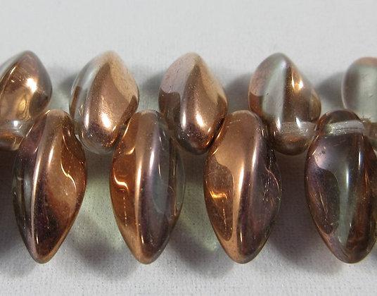 6x12mm Crystal Capri Gold Twist Drops