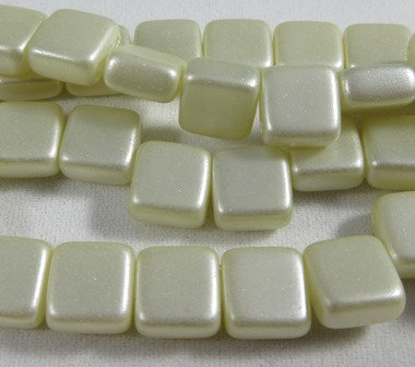 Cream Airy Pearl Tile Bead