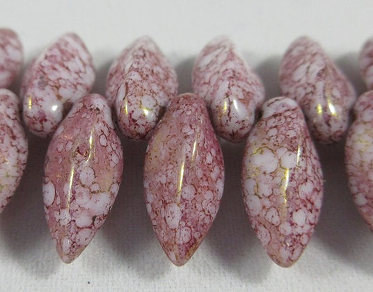 6x12mm White Terracotta Purple Twist Drops