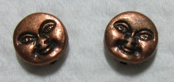 8mm Metal Moon Face Bead