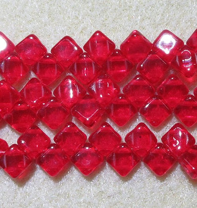 6mm 2-Hole Silky, Transparent Ruby, 40/Strand