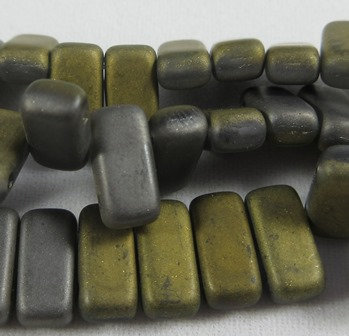 Matte Light Grey 1/2 Gold Brick Bead