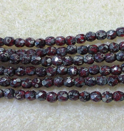3mm Garnet Travertine Fire Polish, 50/Strand
