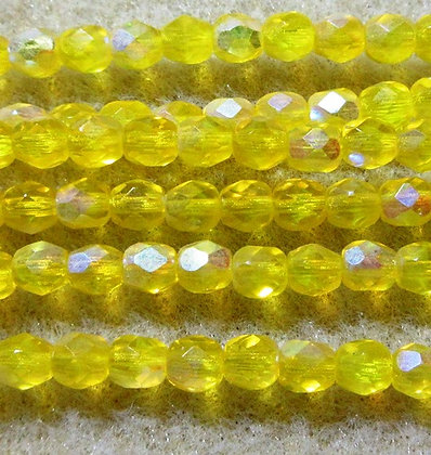 4-45 - 4mm Transparent Bright Yellow AB, 50/Strand