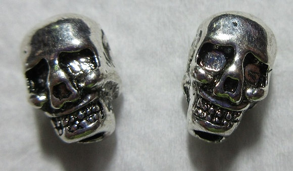 11mm x 7mm Silver Metal Skull Bead