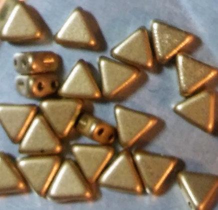 6mm 2-Hole Kheop, Light Gold Matte 9 Grams