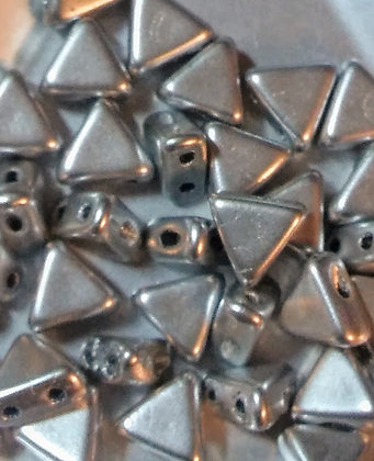 6mm 2-Hole Kheop, Silver Aluminum Matte, 9 Grams