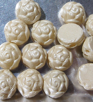 6mm 2-Hole Rosetta Cabochon Alabaster Pastel Cream