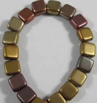 Matte Metallic Silky Rainbow Tile Bead