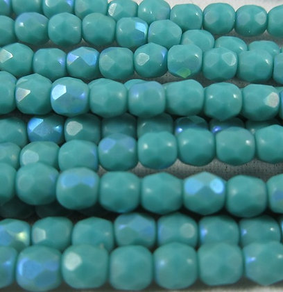 7632  3mm  Matte Opaque Turquoise AB