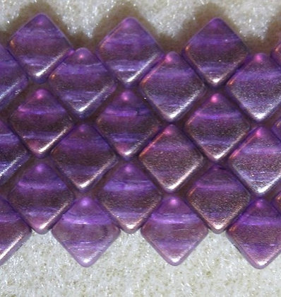 6mm 2-Hole Silky, Purple Bronze Luster, 20/Strand