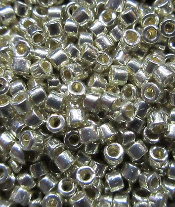 "DB1831 11/0 Delica Duracoat Galvanized Silver, 2"" tube, 7.2 Grams"