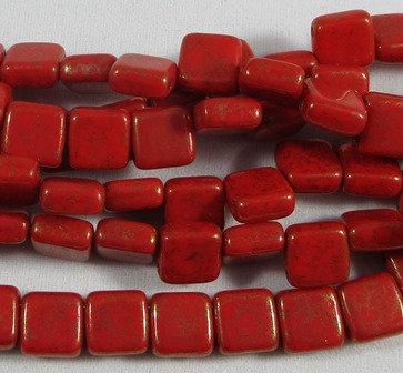 Coral Lumi Tile Bead