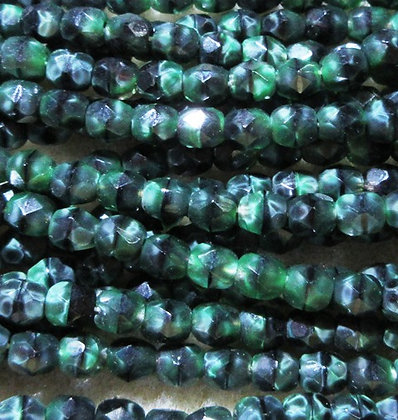 4-84 - 4mm Green Black Marble Fire Polish, 50/Strand
