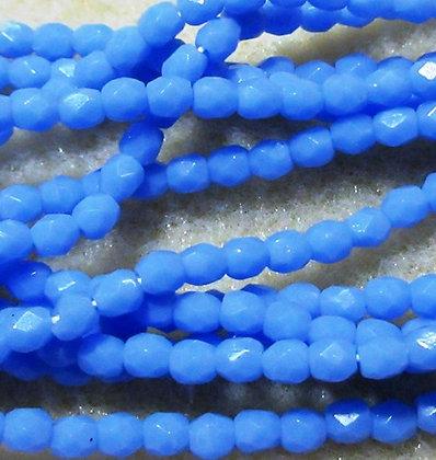 3mm Powder Blue Opaque Fire Polish, 50/Strand