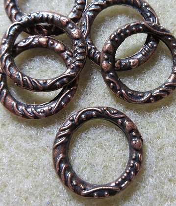 14mm Antique Copper Heart/Stripe Link/Connector, 2/Pkg.
