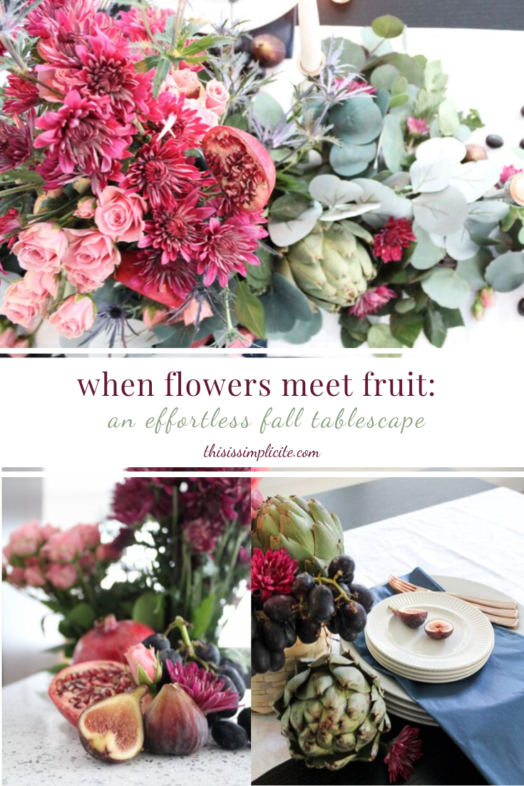 When Flowers Meet Fruit: An Effortless Fall Tablescape #falltablescape #fallinspiration #falldecor