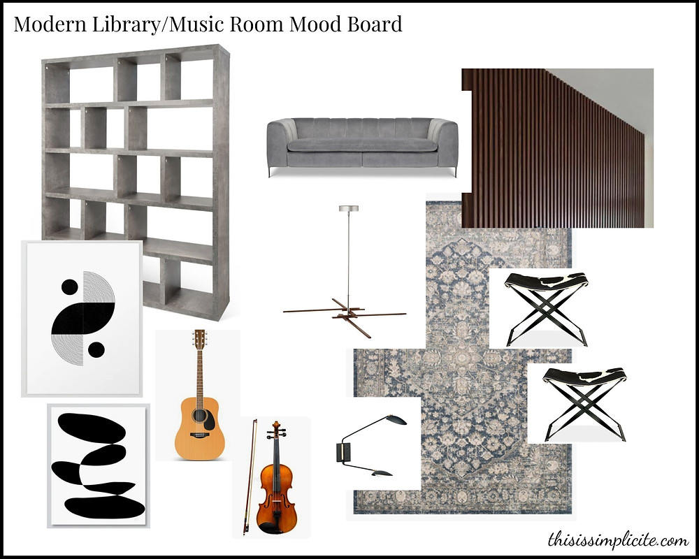 One Room Challenge: Week 1 - Modern Library/Music Room Makeover #bhgorc #oneroomchallenge