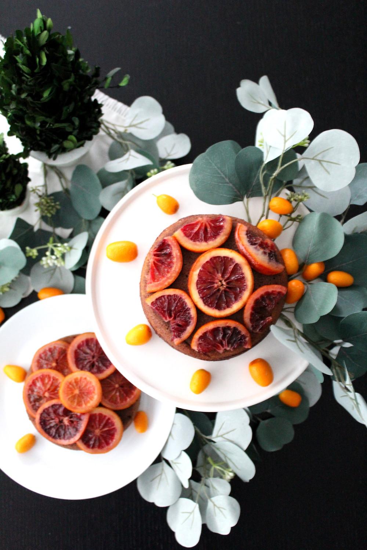 candied blood orange chocolate almond cake. #citruscake #bloodorangecake #wintercake
