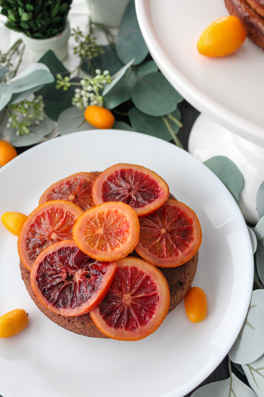 Candied Blood Orange Chocolate Almond Cake. #wintercake #fruitcake #bloodorangecake