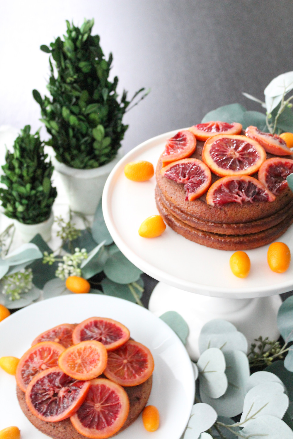 candied blood orange chocolate almond cake. #citruscake #bloodorangecake #fruitcake #wintercake